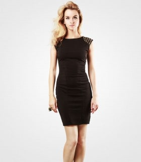 Pencil dress with lace shoulders crew neck