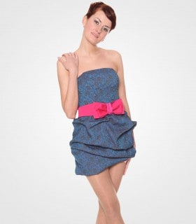 Bow strapless mini dress with ruffle detail
