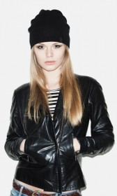 Faux leather jacket with an asymmetrical zipper front