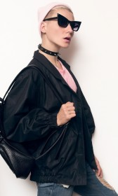 Long elasticized sleeves black satin jacket