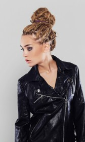 Faux leather PU short jacket with an asymmetrical zipper front