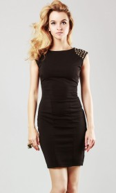 Studded shoulder bodycon pencil dress