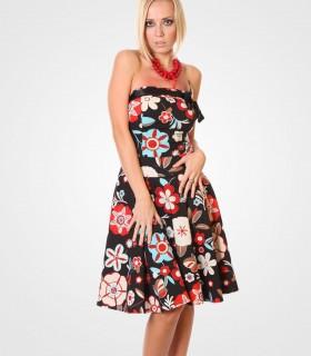 Floral strapless mini skater dress