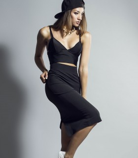 Sport concept crop top and black skirt set