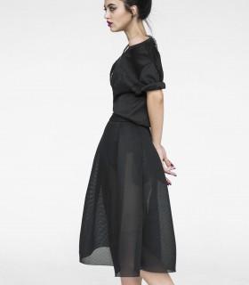Crew neck short sleeve black chiffon dress