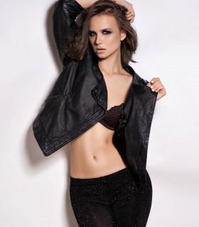 women's solid black 3/4 sleeve jacket