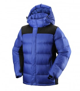 Men's red hooded down jacket