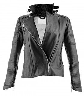 Women's faux leather biker jacket with pockets