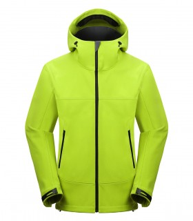 Hooded water and stain repellent fleece jacket
