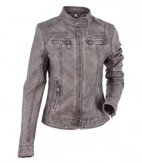 Women's lambskin leather biker jacket
