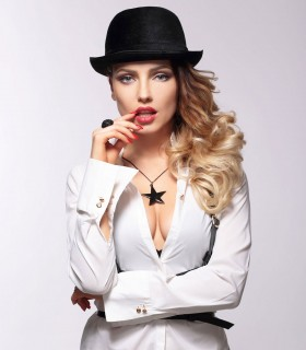 Sexy deep V-neck white blouses