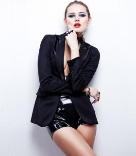 Single-button black blazer with faux-leather trim